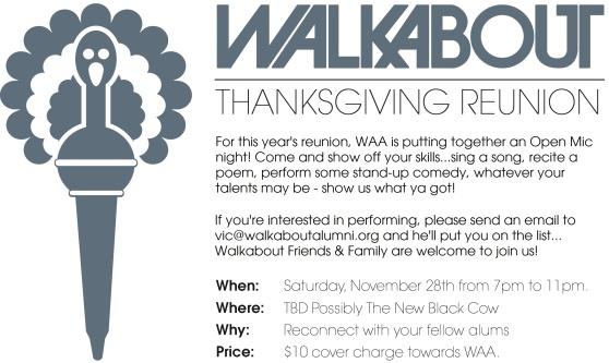 2015 Thanksgiving Gathering/Routine - Walkabout Alumni Association